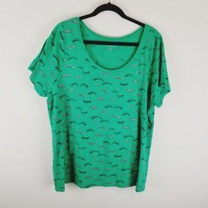 Lane Bryant  pls size green eyelash t-shirt 18 20